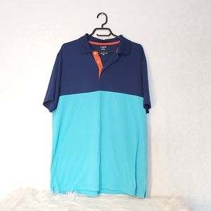 Chaps Golf Polo button up collared shirt blue